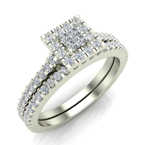 princess cut square halo diamond wedding ring set 059 carat total 14k gold i - Princess Cut Diamond Wedding Ring Sets