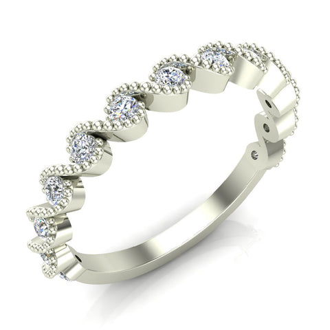 Ocean Waves Ripple Stacking Milgrain Diamond Wedding or Anniversary Band 0.33 ctw 18K Gold (G,SI) - White Gold