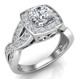 Intertwined Diamond Engagement Ring Cushion Shape 18k Gold 1.27 ct tw (G,VS) - White Gold