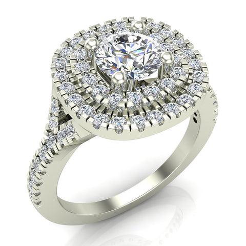 Cushion Halo Diamond Engagement Ring 1.35 Carat Total Weight Y Style Setting 14K Gold (G,SI) - White Gold
