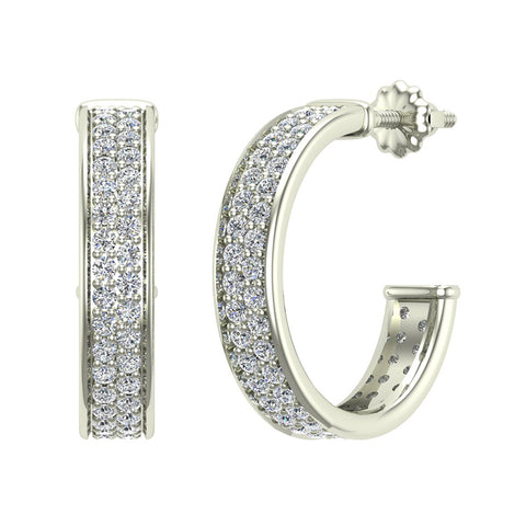 19.63 mm Diameter Dual row Pave Set Diamond Hoop Earrings 1.50 ctw 14K Gold (G,SI) - White Gold