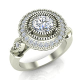 0.98 Carat Vintage Halo Solitaire Wedding Ring 18K Gold (G,SI) - White Gold
