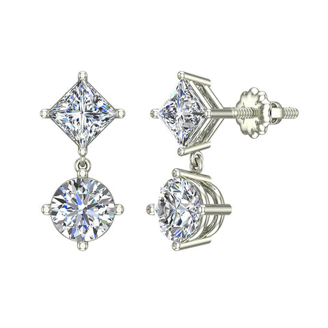 Princess & Round Drop Two stone Diamond Dangle Earrings 18K Gold (G,VS) - White Gold