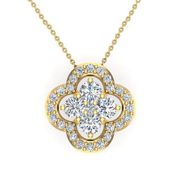 18K Gold Necklace Diamond Loop style Flower Cluster 0.80 ct tw Diamonds in Yellow Gold