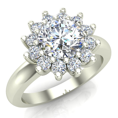 Halo Engagement Ring Classic Style Floral Halo Shared Prong Setting 14K Gold 1.30 Carat Total Weight (G,I1) - White Gold