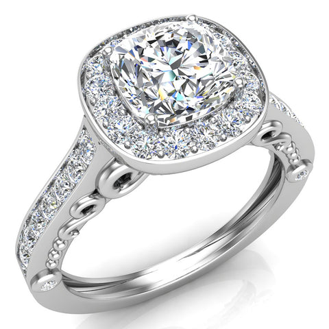 Cushion Halo Filigree Engagement Ring 14K Gold (I,I1) - White Gold
