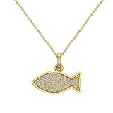 14K Gold Fish Pendant 0.27 ct tw Pave-set Diamond Charm (G,SI) - Yellow Gold