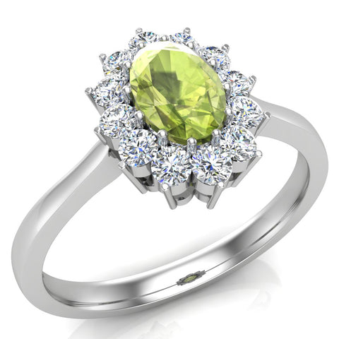 August Birthstone Peridot Oval 14K Gold Diamond Ring 0.80 ct tw - White Gold