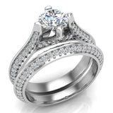 Micro Pave Solitaire Diamond Wedding Ring Set 18K Gold (G,VS) - White Gold