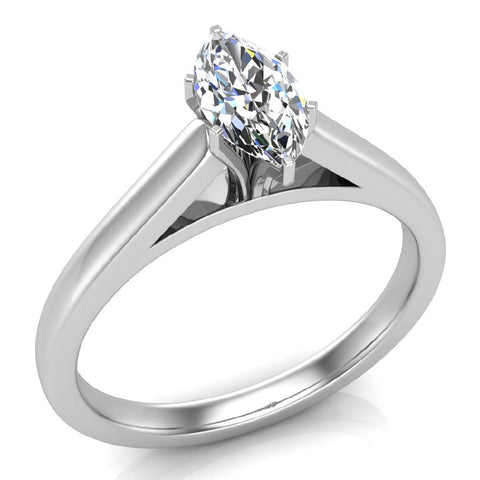 Marquise Cut Brilliant Earth-mined Diamond Engagement Ring 14k Gold (I,I1) - White Gold