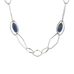 "Simona Collini Steel 36"" Marquise Gemstone Necklace"