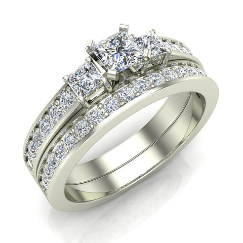 Past Present Future Princess Accented Diamond Wedding Ring Set 1.06 ctw 18K Gold (G,SI) - White Gold