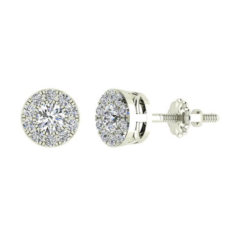 Halo Cluster Diamond Earrings 1.08 ctw 14K Gold (G,SI)