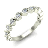 Ocean Waves Ripple Stacking Milgrain Diamond Wedding or Anniversary Band 0.33 ctw 14K Gold (G,I1) - White Gold