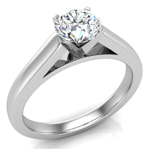 Round Brilliant Cut Diamond Engagement Ring 14K Gold (G,I1) - White Gold