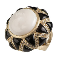 Rivka Friedman Bold Inlay Gemstone Ring w/Simulated Diamond Accents