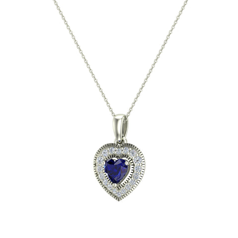 Dainty Blue Sapphire & Halo Diamond Heart Necklace 14K Solid Gold ¾ ctw - White Gold