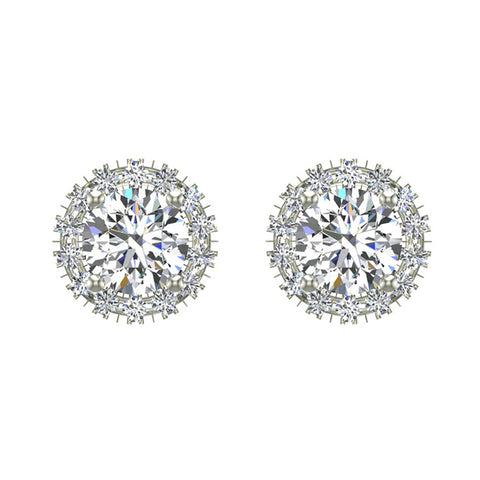 Highlighted Cone Halo Diamond Earrings Studs 14K Gold 3.8 mm Center (I,I1) - White Gold