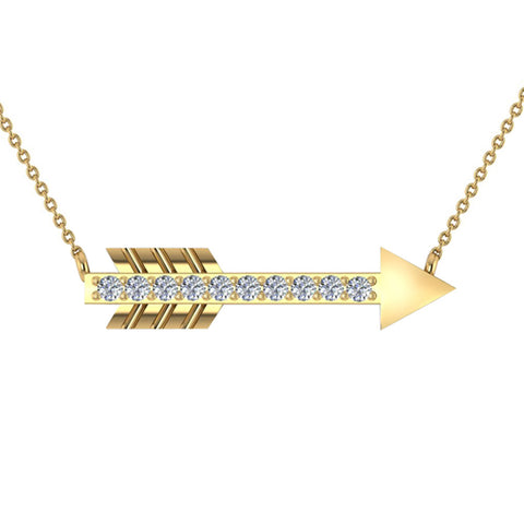 18K Gold Necklace 0.11 ct Diamond Arrow Pendant (G,VS) - Yellow Gold