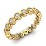 0.60 ct.tw Bezel Set Milgrain outline Diamond Stackable Band 18k Gold (G,VS) - Yellow Gold