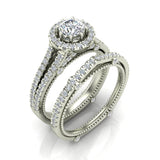 Vintage Look Split Shank Diamond Engagement Ring Set 18K Gold (G,VS) - White Gold