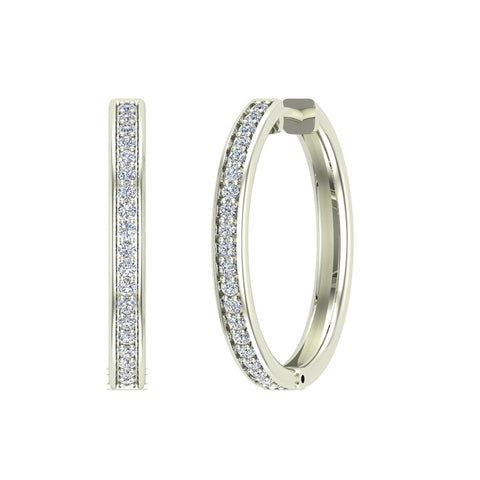 14K Gold Hoop Earrings 26 mm Diamond Line Setting Secure Click-in Lock (I,I1) - White Gold