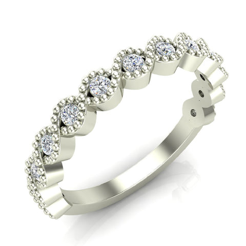 Designer Stacking Evil Eye Round Milgrain Diamond Wedding or Anniversary Band  0.26 ctw 14K Gold (I,I1) - White Gold