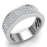Unisex Wedding Band Three row Diamond Ring 14K Gold 1.00 cttw (G,SI) - White Gold