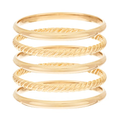 Bronzo Italia Small Set of 5 Polished & Rope Textured Round Bangles