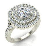 Cushion Halo Diamond Engagement Ring 1.66 Carat Total Weight Y Style Setting 14K Gold (I,I1) - White Gold