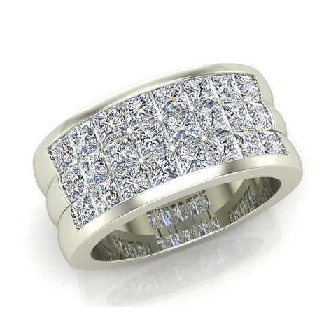 Luminous Princess Halfway Diamond Wedding Band 2.40 ctw 18K Gold (G,SI) - White Gold