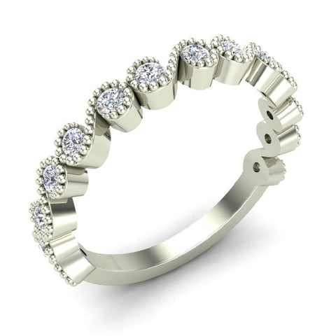 Ocean Waves Ripple Stacking Milgrain Diamond Wedding or Anniversary Band 0.35 ctw 14K Gold (I,I1)