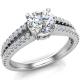Split Shank Diamond Engagement Ring with Accent Diamonds 1.10 ctw 18K Gold (G,VS) - White Gold