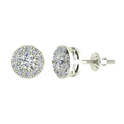 Halo Cluster Diamond Earrings 0.77 ctw 14K Gold (I,I1) - White Gold