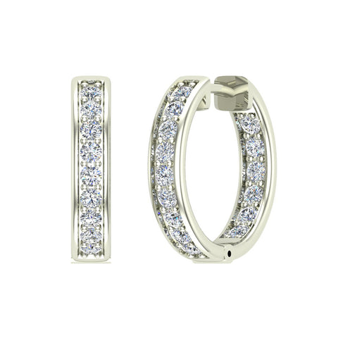 14K Gold Hoop Earrings 18mm Diamond Line Setting Secure Click-in Lock (G,SI) - White Gold