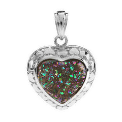 Lee Sands Drusy Quartz Silvertone Heart Pendant