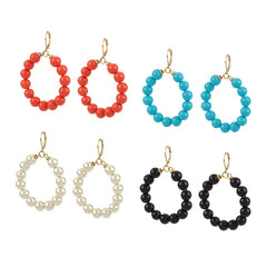 Set of 4 Colored Bead Circle Leverback Earrings