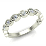 Designer Stacking Marquee Round Milgrain Diamond Wedding or Anniversary Band 0.22 ctw 14K Gold (G,I1) - White Gold