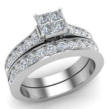 Four Quad Princess Cut  Diamond Cathedral Accent Wedding Ring Set 14K Gold (G,VS) - White Gold