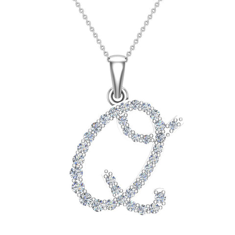 Initial Necklace Q Letter charms Diamond pendant necklace 18K Gold (G,VS) - White Gold