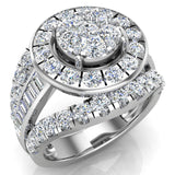 2.50 ct tw Cluster Diamond Wedding Ring Set with Bands 14K Gold (I,I1) - White Gold