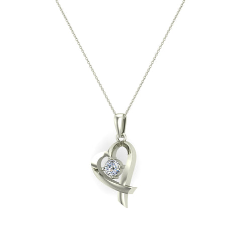 Dainty Heart Pendant Round 4mm Diamond Necklace 18K Solid Gold 0.25 CTW (G,SI) - White Gold