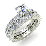 Round Eternity Diamond Engagement Ring Set 14K White Gold (G,SI) - White Gold
