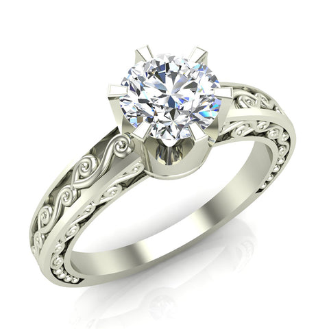 0.75 Carat Vintage Style Filigree Engagement Ring 18K Gold (G,SI) - White Gold