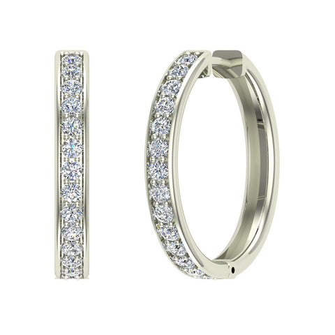 14K Gold Hoop Earrings 26 mm Diamond Line Setting Secure Click-in Lock (G,SI) - White Gold