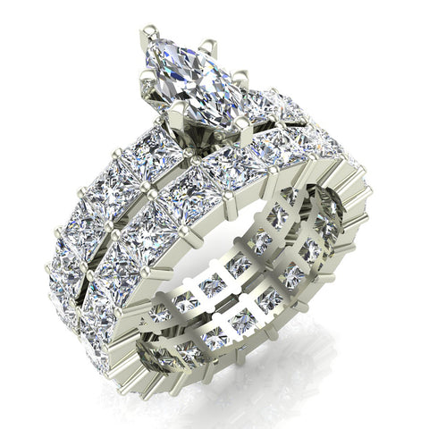 Marquise Cut Center With Princess Eternity Diamond Shank Eternity
