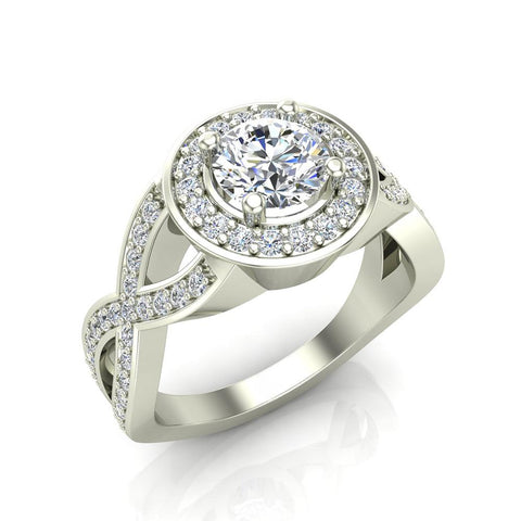 Solitaire Diamond Round Halo Crisscross Shank Engagement Ring 14K Gold (G,SI) - White Gold