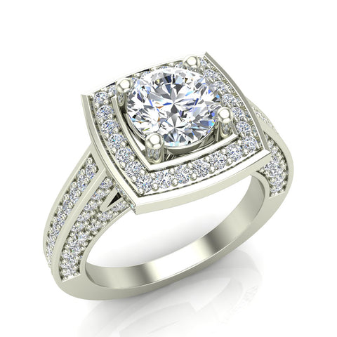 2.00 Carat Solitaire Diamond Square Halo Cathedral Engagement Ring 18K Gold (G,VS) - White Gold