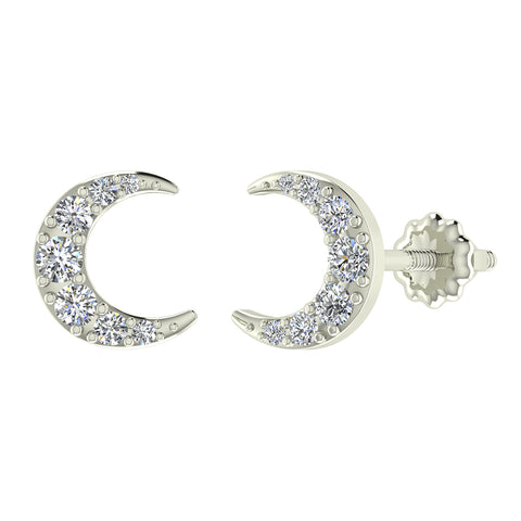 Moon Crescent Shape Pave Diamond Earrings 0.48 ctw 14K Gold (I,I1) - White Gold