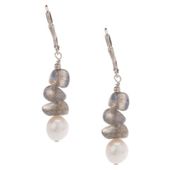 Lee Sands Labradorite & Cultured Pearl Dangle Earrings